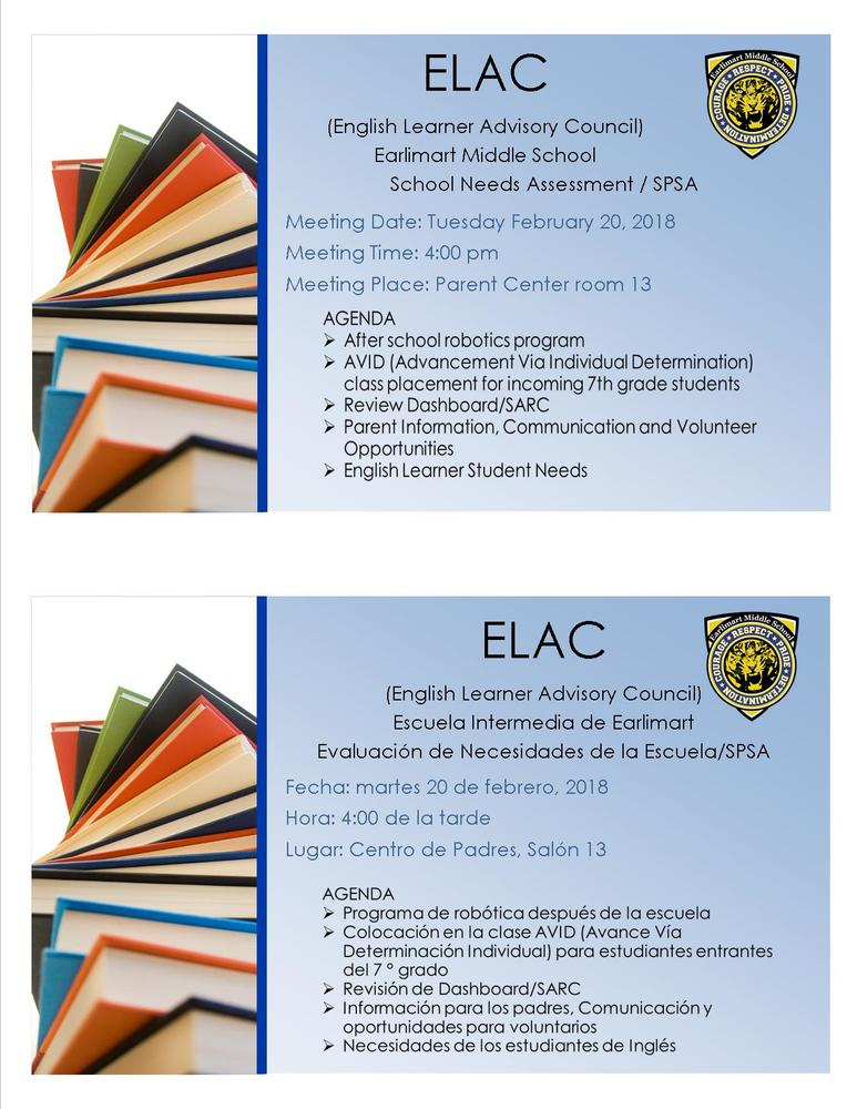 ELAC & 6th Grade Parent Meeting